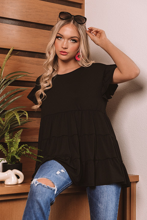Boardwalk Brunch Babydoll Tunic Top in Black