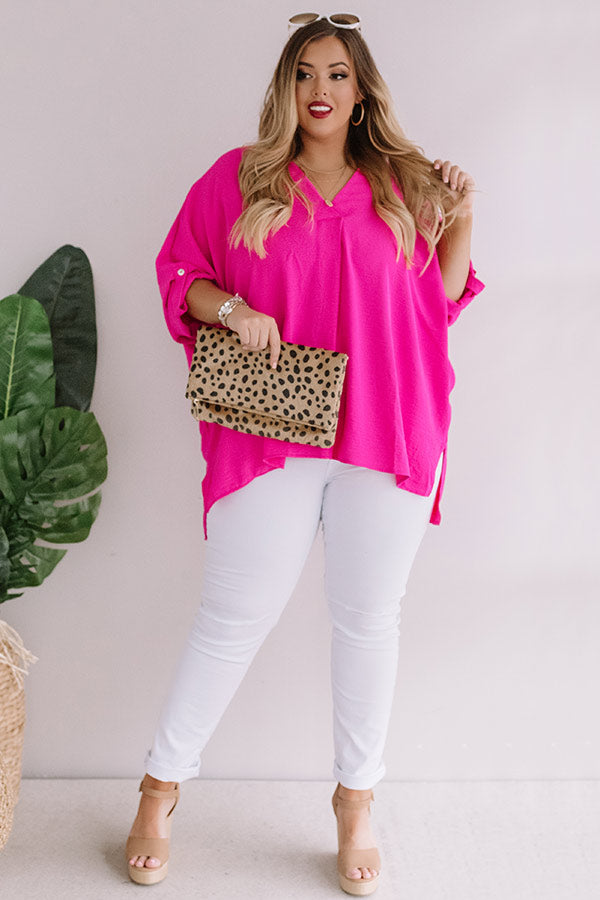 City Sleek Shift Top in Hot Pink