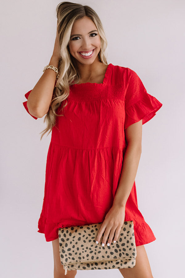 Beyond Bali Shift Dress in Scarlet