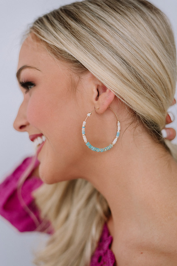 Coconut Grove Hoop Earrings in Ocean Wave