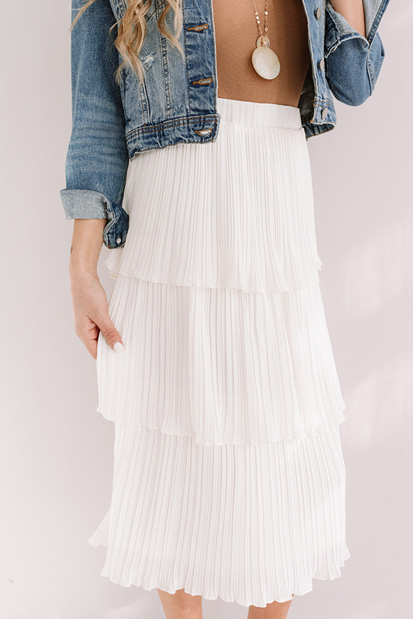 Pleated Pretty Midi Skirt In Ivory