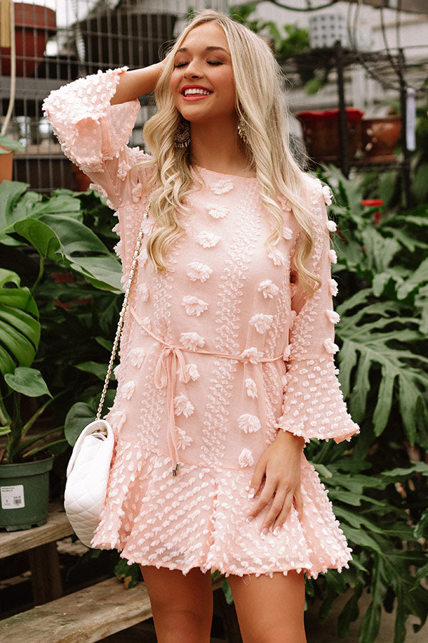 Bound For Broadway Shift Dress In Peach