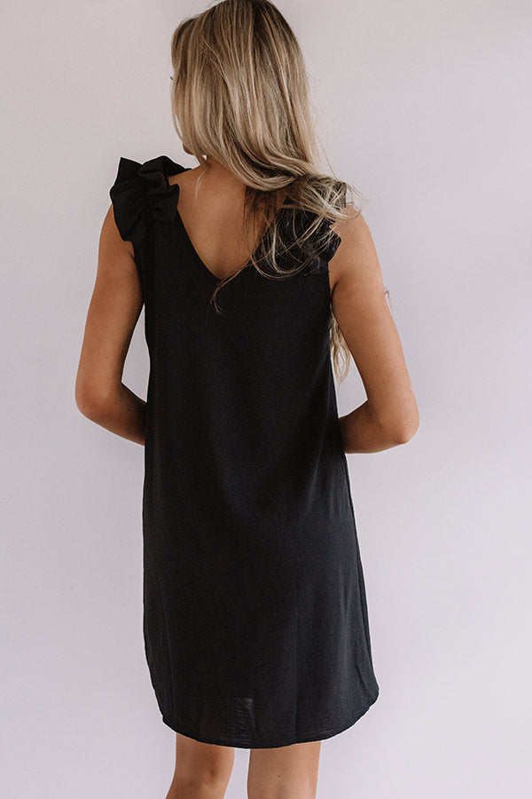 Song And Dance Ruffle Shift Dress in Black