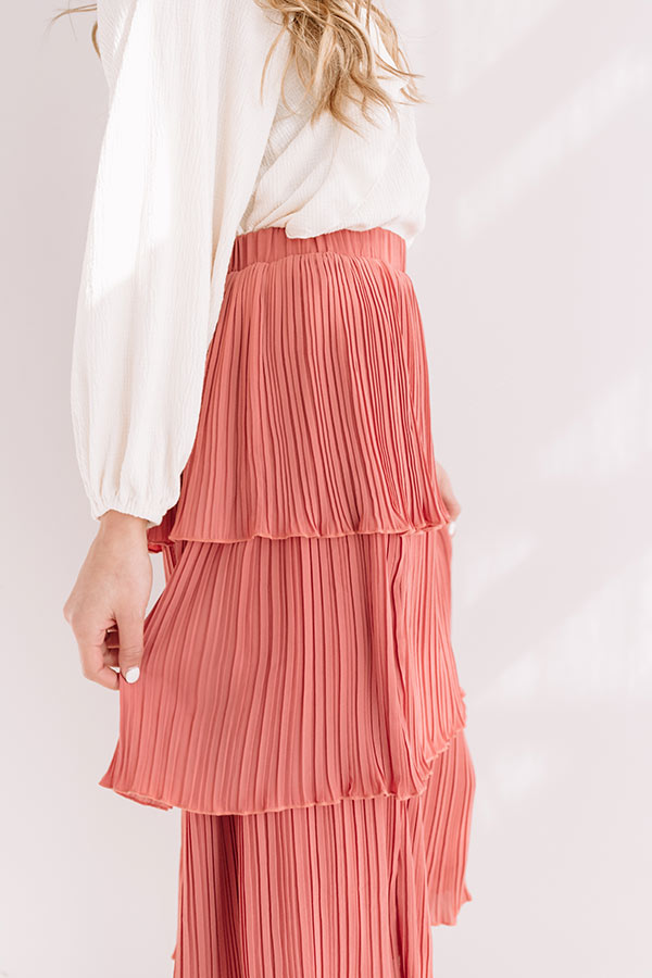 Pleated Pretty Midi Skirt In Rustic Rose