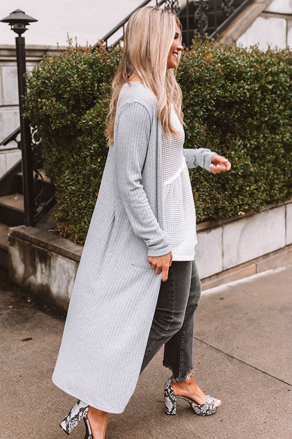 Key To Happiness Knit Duster Cardigan in Grey