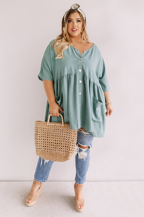 So Relatable Babydoll Tunic Dress In Pear