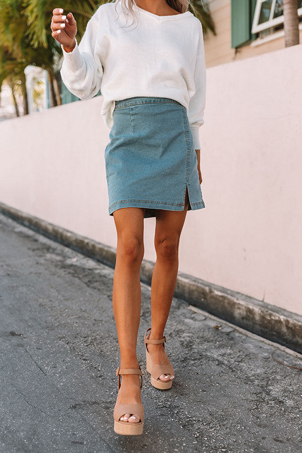 The Jasmine Denim Skirt in Light Wash