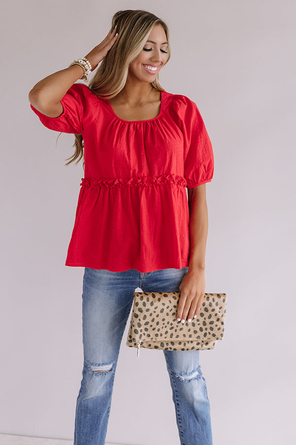 Praise And Prosecco Babydoll Top In Red