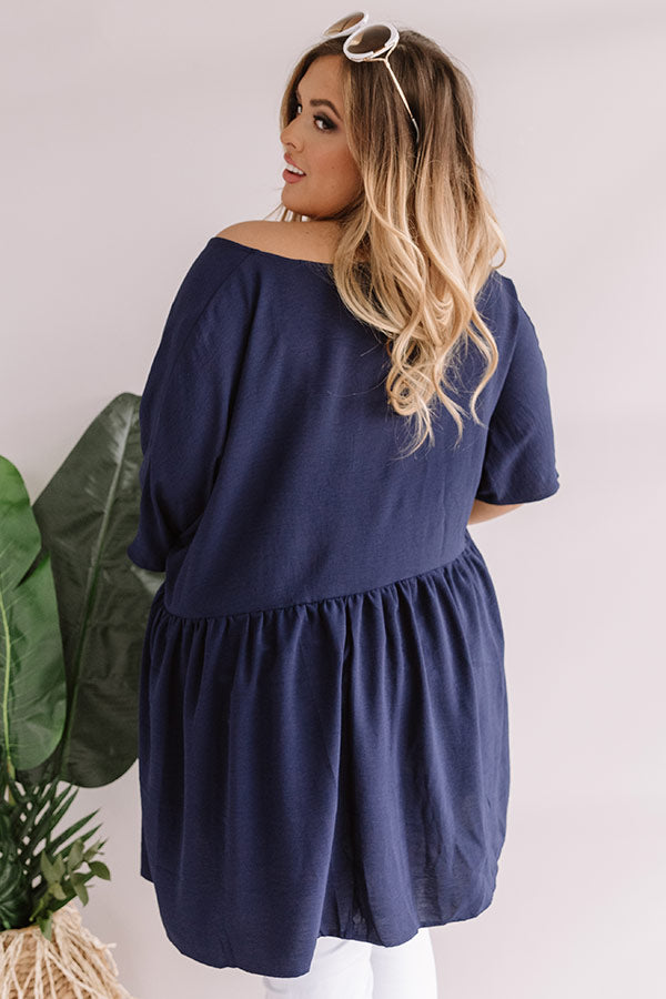So Relatable Babydoll Tunic Dress In Navy