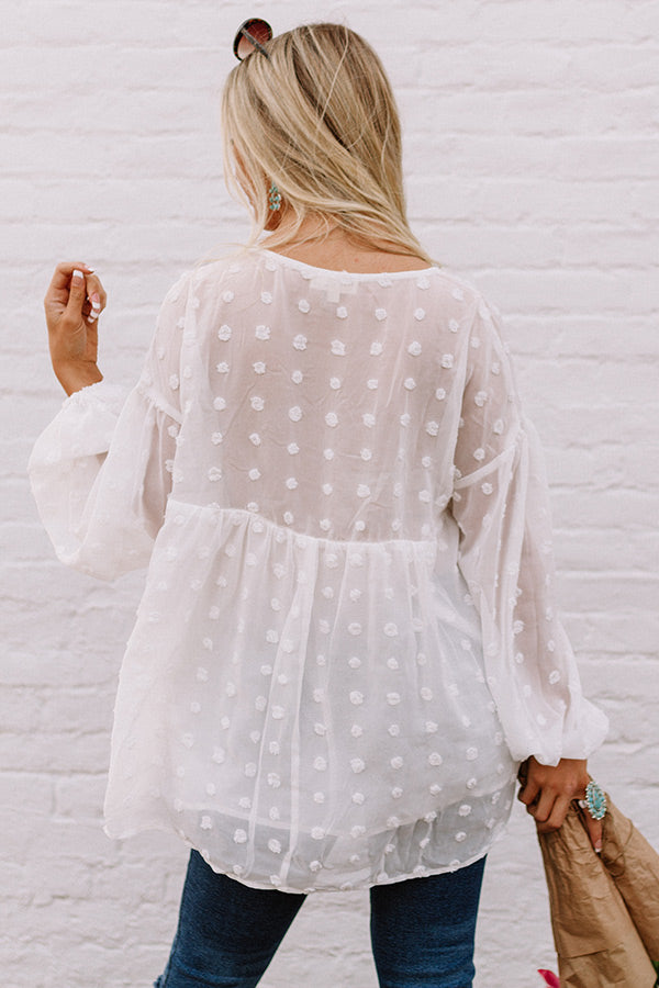 Spot On Babydoll Top In White