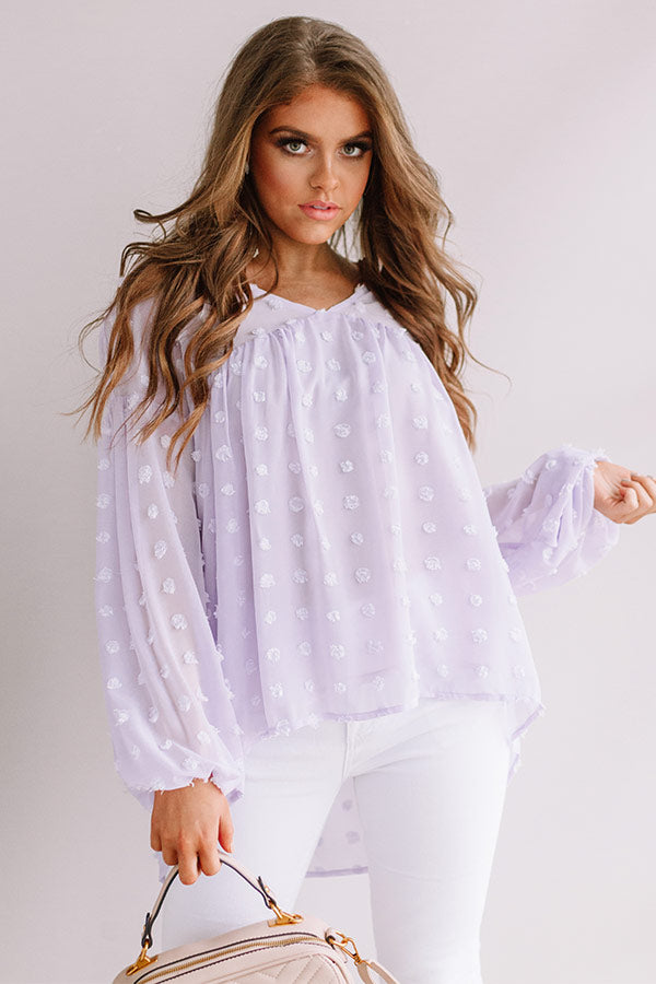 Spot On Babydoll Top In Lavender