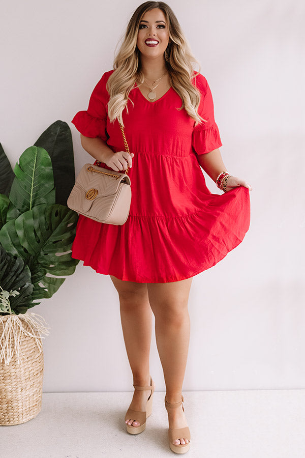 Bahama Brunch Babydoll Dress in Red