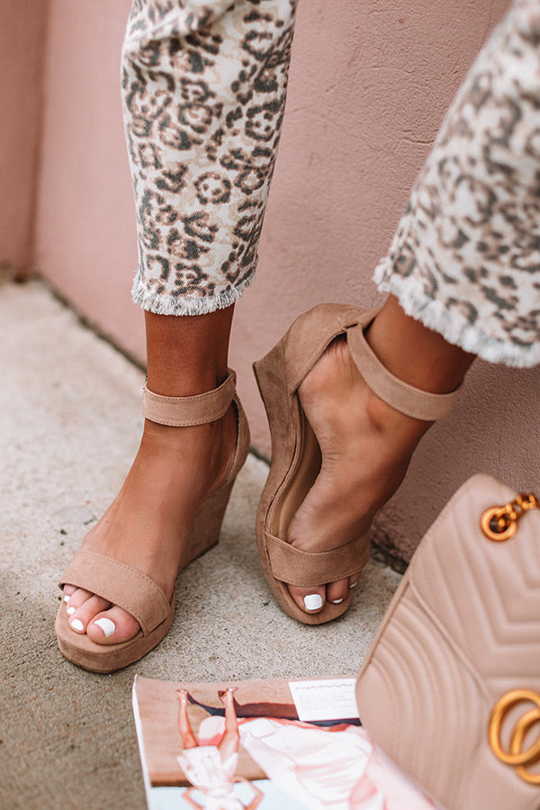 The Lilianna Faux Suede Wedge in Iced Latte