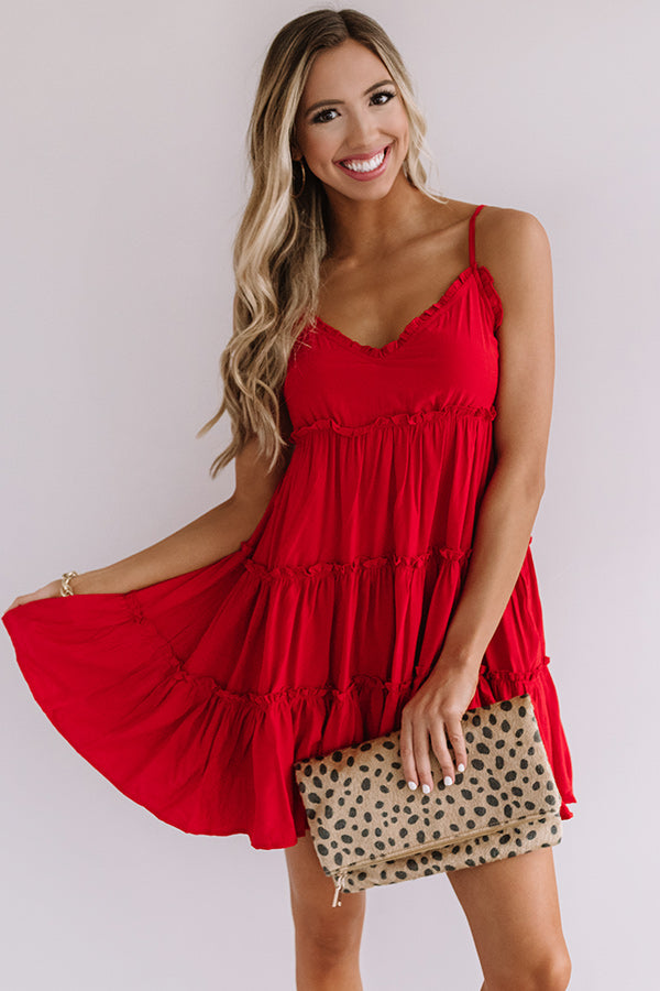 Bellini's In Bahama Babydoll Dress in Red