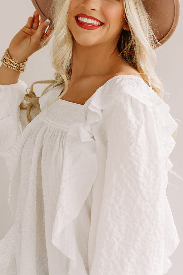 Dreams Of Tomorrow Ruffle Shift Top In White