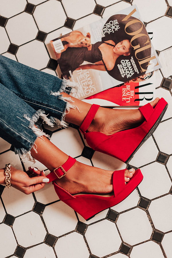 The Lilianna Faux Suede Wedge in Red