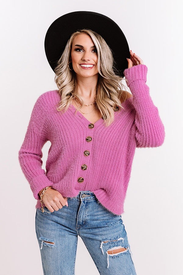 Never Let You Down Button Up Top In Violet