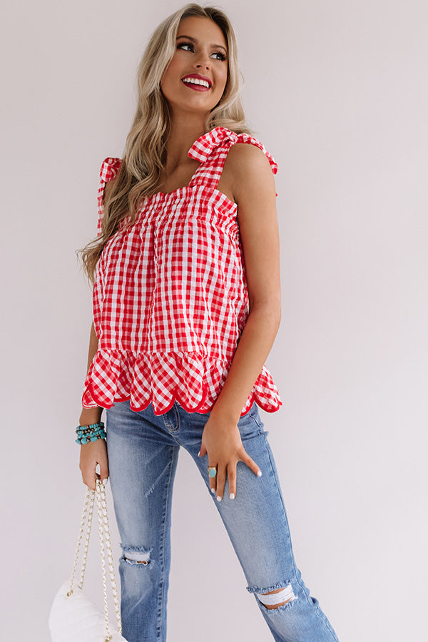 Frozen Margs Checkered Tank In Red