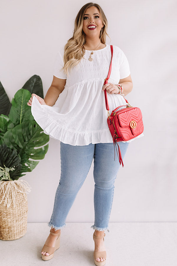 Kisses In Capri Babydoll Top In White