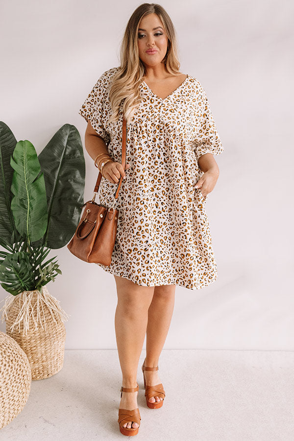 Alps And Kisses Leopard Babydoll Dress In Ivory