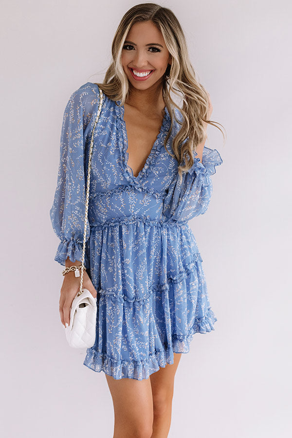 Champagne In The Garden Ruffle Dress in Airy Blue