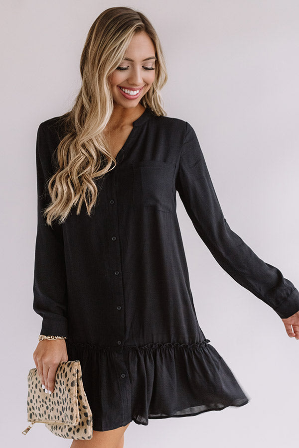 Turn Up The Music Shift Dress in Black