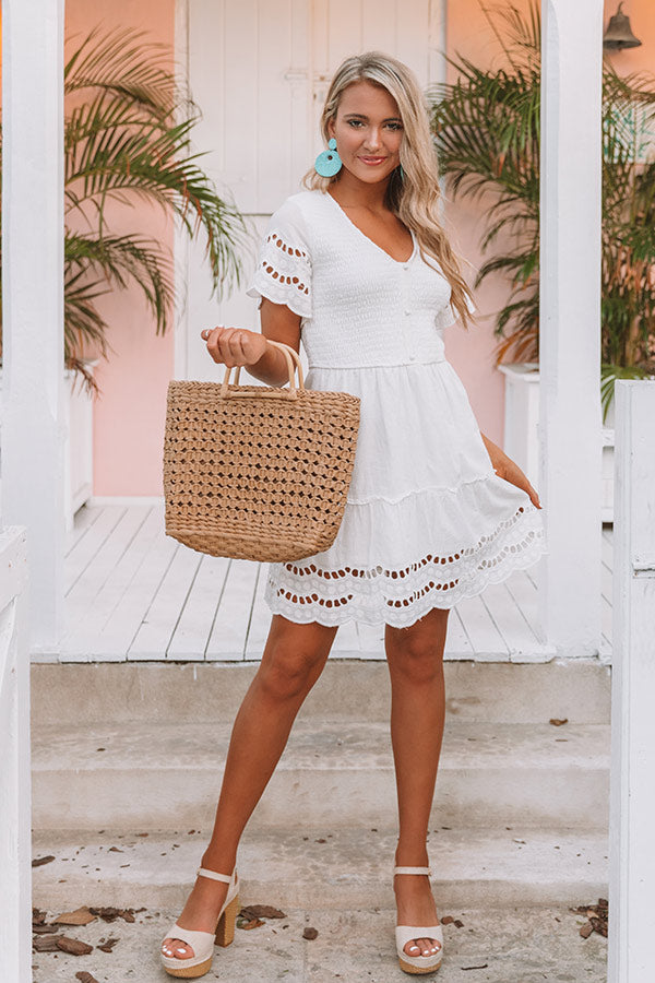 Bahamas Bungalow Eyelet Dress In White