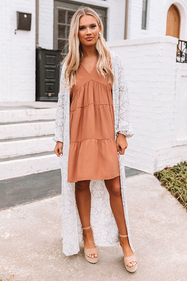 Santorini Swooning Babydoll Dress In Iced Mocha