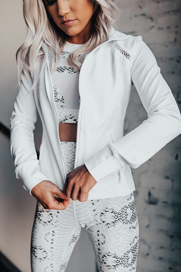 Workout, Then Wine Mesh Light Weight Active Jacket In White