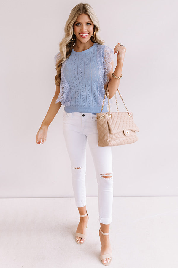 Seaside Spell Lace Top In Sky Blue