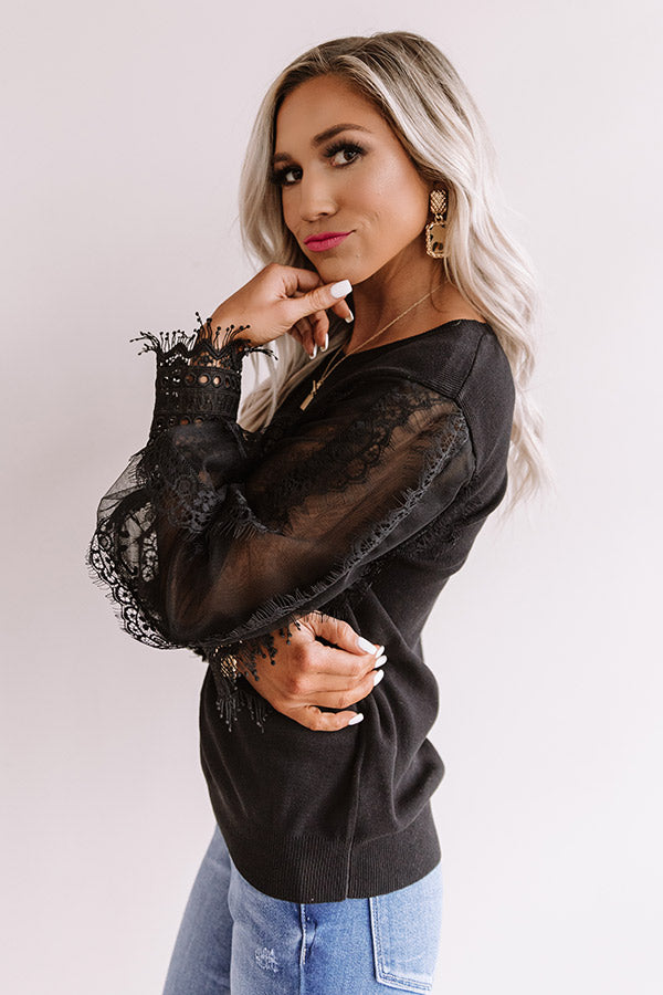 Take A Chance On Love Lace Top In Black