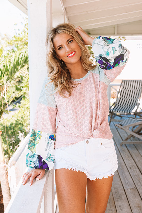 Chasing Sunsets Waffle Knit Shift Top In Pink