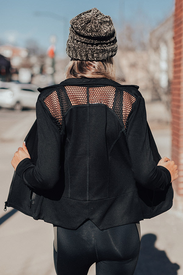 Workout, Then Wine Mesh Light Weight Active Jacket In Black