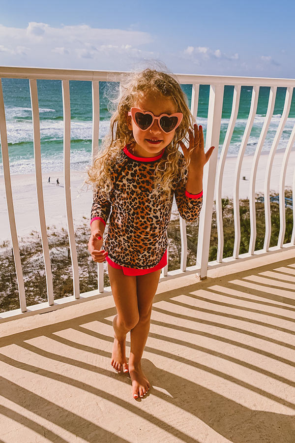 Splashes From The Sea Children's Rashguard Swim Top in Leopard Print