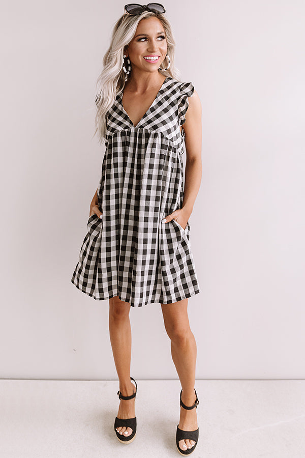 Coconut Kisses Checkered Babydoll Romper In Black