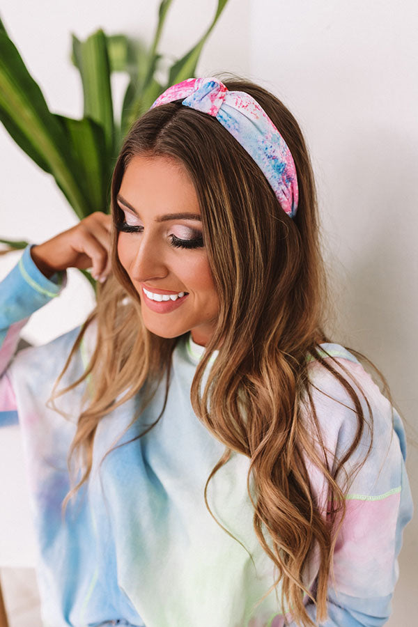 Kiss Me At Sunset Tie Dye Headband In Blue