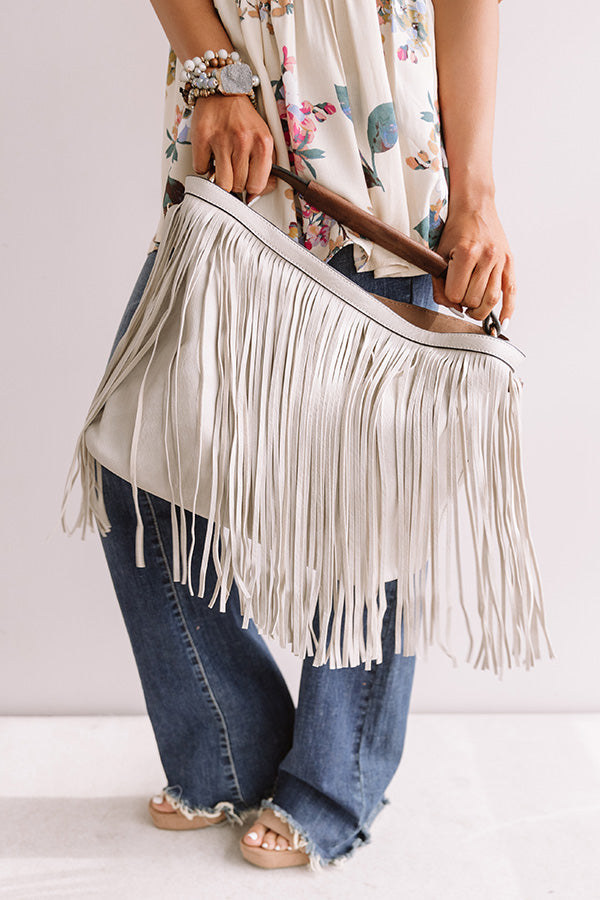 The Time Is Now Faux Leather Fringe Tote