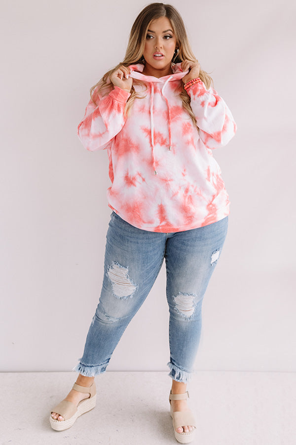 Watercolor Shores Tie Dye Hoodie In Coral