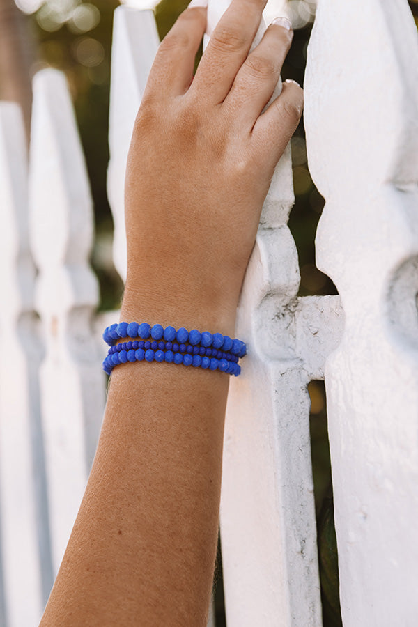 Pure Perfection Semi Precious Bracelet Set In Royal Blue
