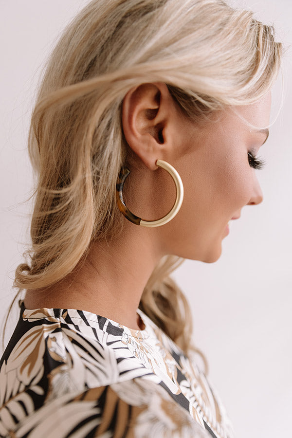 Cabo Daydream Tortoiseshell Hoop Earrings In Gold