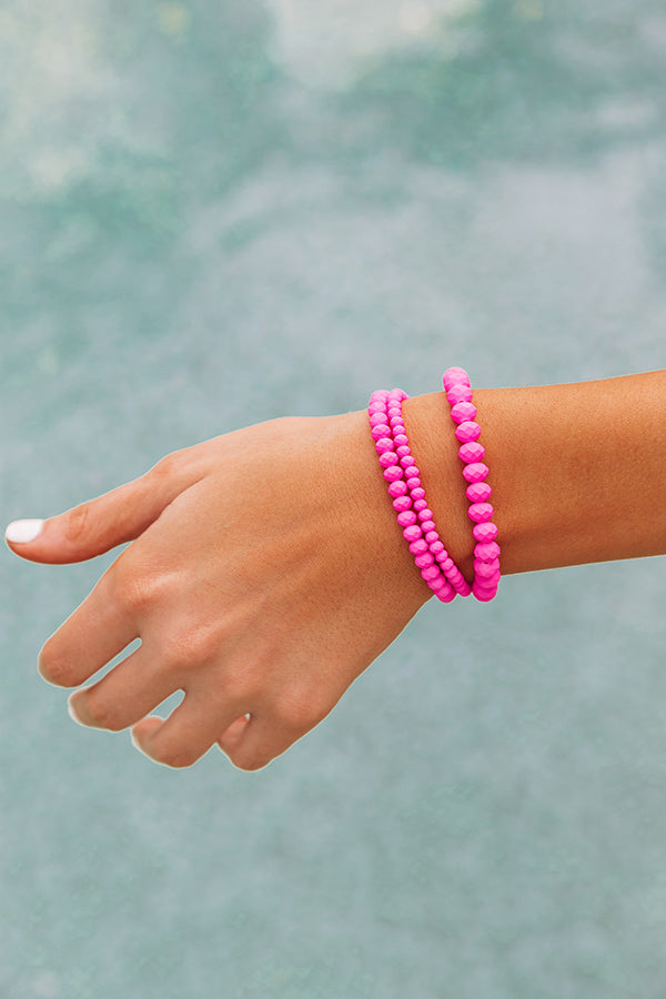 Pure Perfection Semi Precious Bracelet Set In Hot Pink