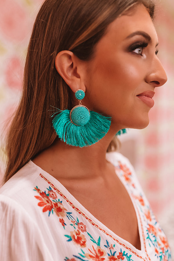 Talkin' About Tulum Fan Earrings In Turquoise