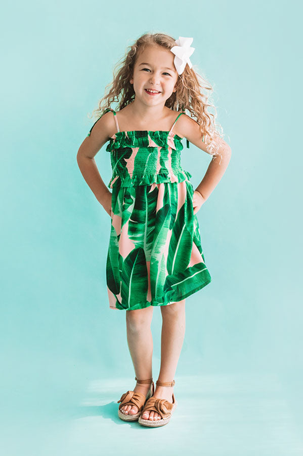 Pools And Palm Trees Children's Smocked Dress In Palm Leaf Green