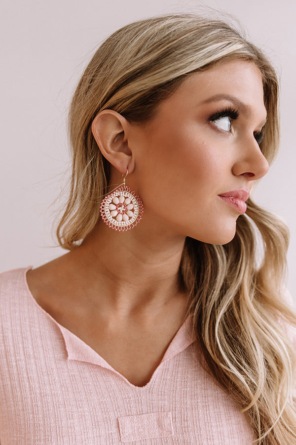 Craving Pina Coladas Beaded Earrings In Pink