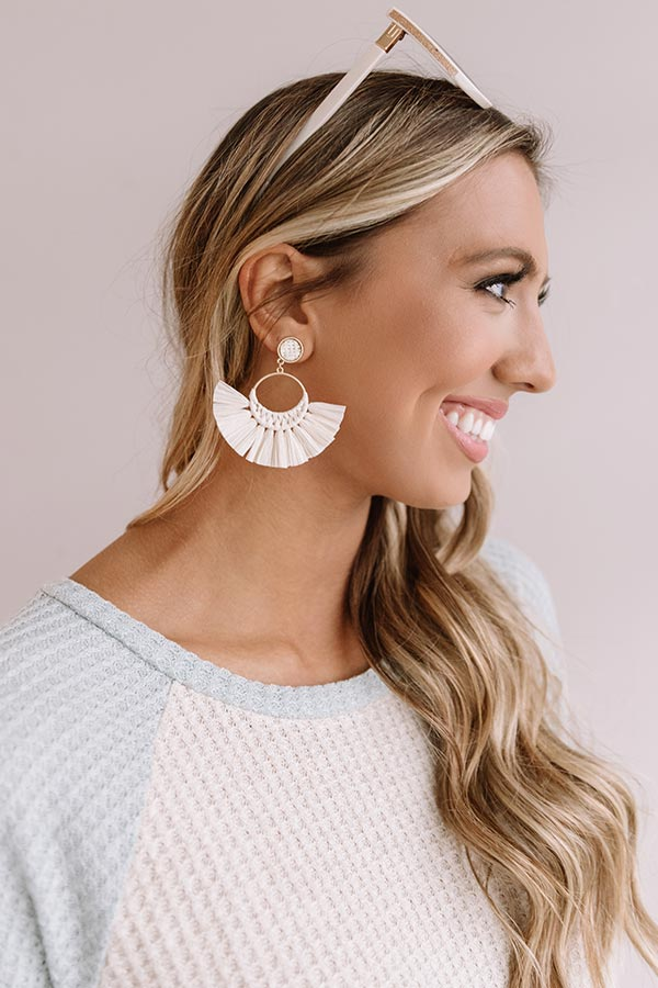 Margs In The Maldives Fan Earrings In Ivory