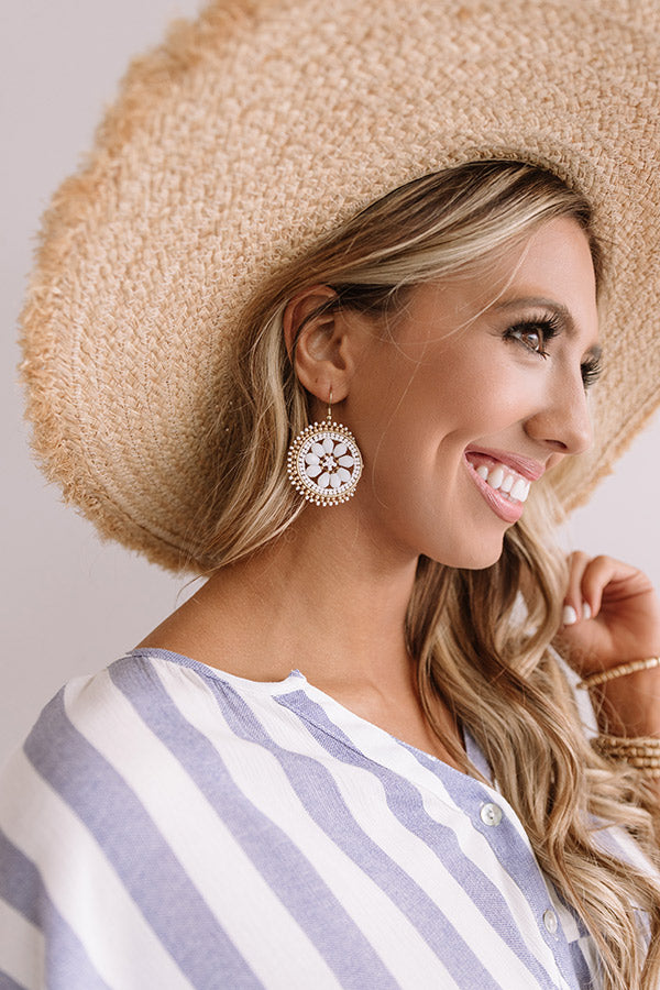 Craving Pina Coladas Beaded Earrings In White