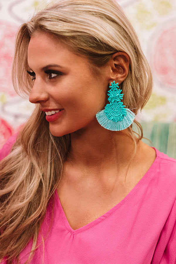 Dunes And Daydreams Beaded Earrings In Turquoise