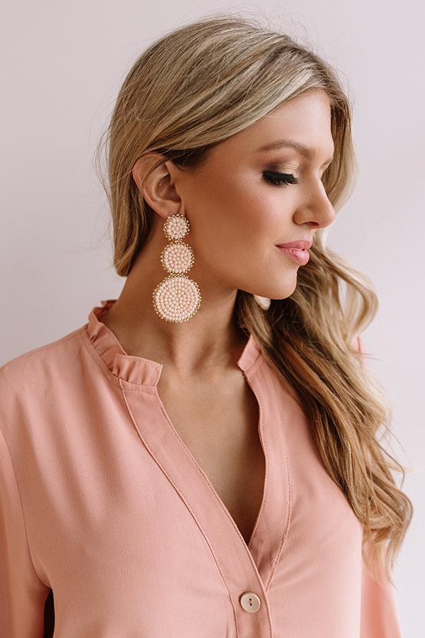 Sassy In Seaside Beaded Earrings In Light Peach