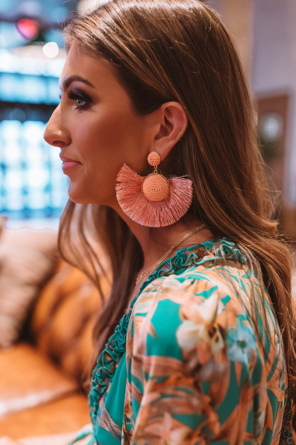 Talkin' About Tulum Fan Earrings In Peach