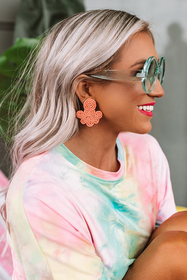Best Coast Beaded Earrings In Peach